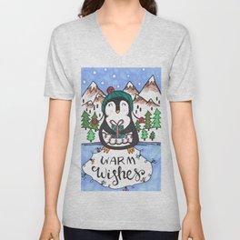 Warm Wishes Holiday Penguin Unisex V-Neck