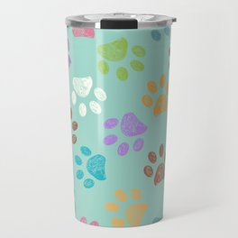 Doodle colorful paw candy colors pattern Travel Mug