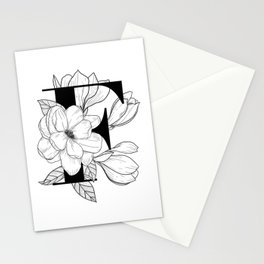 Monogram Letter F with Magnolia Line Art Stationery Cards