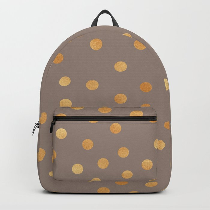 Rose gold polka dots - mocha golden Backpack