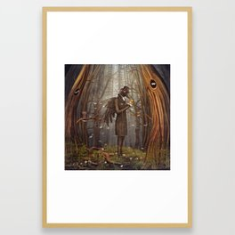 Raven in forest Framed Art Print