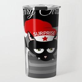 Naughty Cat Merry Christmas Travel Mug