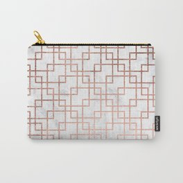 Modern rose gold geometric abstract square pattern on white marble Carry-All Pouch