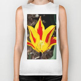 Yellow and red Lily Tulip Biker Tank