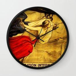 Vintage Pre-WWI Paris International Airshow Lithograph Advertisement Poster Wall Clock