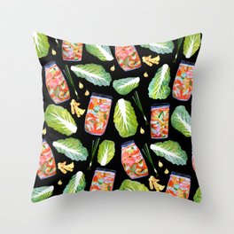 Kimchi Ingredients Fun Spicy Watercolor Black Throw Pillow