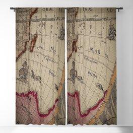 Leather Vintage Map Print  Blackout Curtain