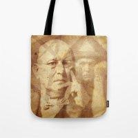 crowley Tote Bags featuring Mr. Crowley by Rodrigo Grola