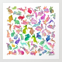 Watercolour Bunnies Art Print