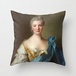 Madam de La Porte Portrait by Jean - Marc Nattier Throw Pillow