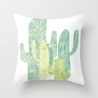 cacti Throw Pillows featuring Cacti by YOKO.home