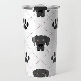 Black Great Dane Paw Print Pattern Travel Mug