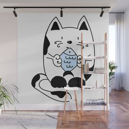 Cat with a fish Wall Mural