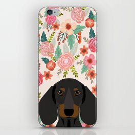 Dachshund floral dog head cute doxie must have pure breed weener dog gifts iPhone Skin