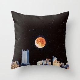 Blood Moon Over Pittsburgh Pennsylvania Skyline-Night Sky and Stars Throw Pillow