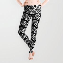 All Seeing Eye Pattern Black and White Leggings