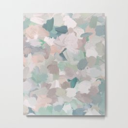Mint Seafoam Green Dusty Rose Blush Pink Abstract Nature Flower Wall Art, Spring Painting Print Metal Print