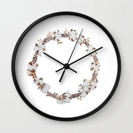 Cotton boll wreath Wall Clock