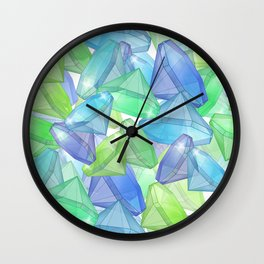 Placer precious stones, yellow , green , blue . Wall Clock