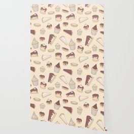 Chocolate Pastry Pattern Wallpaper