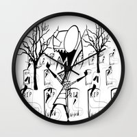 invader zim Wall Clocks featuring invader zim by LCMedia