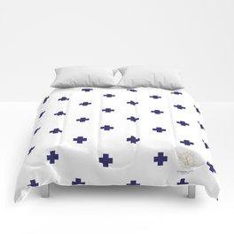 Modern Swiss - Bold Style Cross Plus Sign Comforters