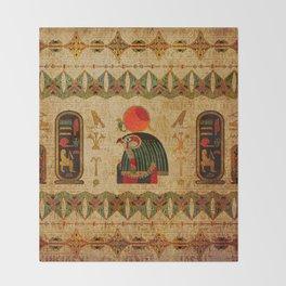 Egyptian Horus Ornament on Papyrus Throw Blanket