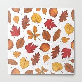Autumn Leaves Watercolor Pattern | Fall Leaves | Autumn Foliage Design | Metal Print