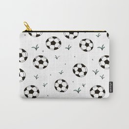 Fun grass and soccer ball sports illustration pattern Carry-All Pouch