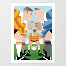 Rugby Scrum for Handsome Devil Press Art Print
