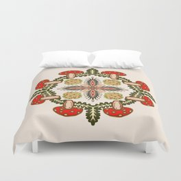 Fly Agaric Toadstool Forest Folkart, Red Fungi Mushroom Design with Trees Duvet Cover