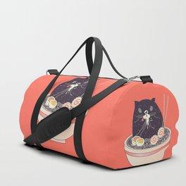 Bowl of ramen and black cat Duffle Bag
