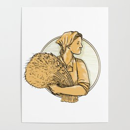 Female Wheat Farmer Drawing Poster