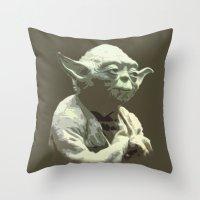 yoda Throw Pillows featuring Yoda by DisPrints
