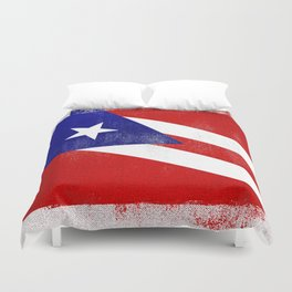 Puerto Rican Distressed Halftone Denim Flag Duvet Cover