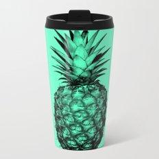 Pineapple! Black on mint green Metal Travel Mug