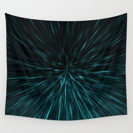 Blue and black Hypergalaxy Wall Tapestry