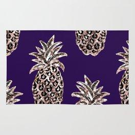 Gold Pineapples on purple Rug