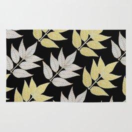 Silver & Gold Leaves On Black Rug