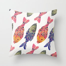 Indonesian Fish Duo – Navy & Coral Palette Throw Pillow