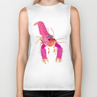 lobster Biker Tanks featuring lobster by Elise Cayouette