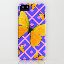 Decorative  Yellow Butterflies on Lilac & Pink iPhone Case