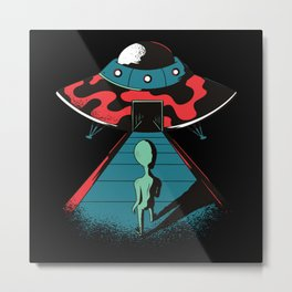 Enter the Ufo Alien Space Design Metal Print