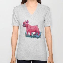 animals in chairs # 23 French Bull Dog Unisex V-Neck