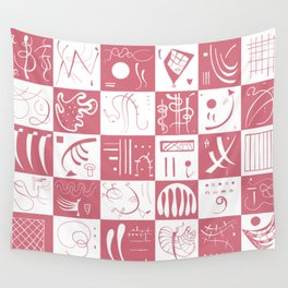 Kandinsky - White and Rose Pattern - Abstract Art Wall Tapestry