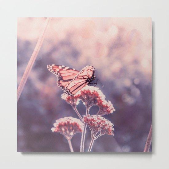 Butterfly Kisses, Dusty Purple Bokeh Background Metal Print