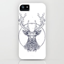 Flowers and Stag [Monochrome] iPhone Case