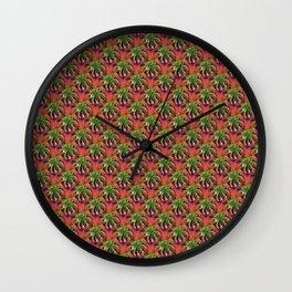 Flower Circle in Pink Green Purple Wall Clock