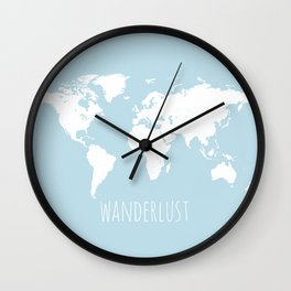World Map - Wanderlust Quote - Modern Travel Map in Light Blue With White Countries Wall Clock