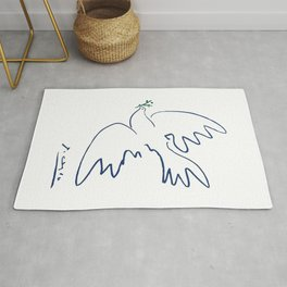 Pablo Picasso Dove Of Peace In Blue 1949 Artwork Reproduction Rug